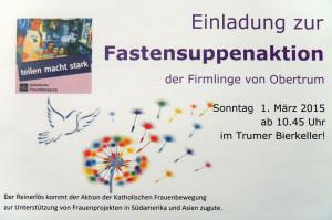 Plakat der Firmgruppen zur Fastensuppe
